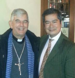 "With His Excellency Bishop Enrique Figaredo Alvargonzalez at Roman ""Trattoria da Luigi""  26 November 2014"