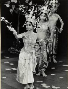 HRH Princess Norodom Buppha Devi leading the Apsara Ballet at the Theatre Sarah Bernhardt, Paris, July 1964