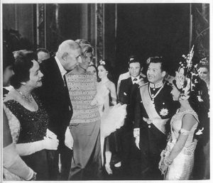 General de Gaulle and his wife, together with Ms. Pompidou, greeting HRH Samdech Preah Apyuvareach Norodom Sihanouk and his eldest daughter, HRH Princess Norodom Buppha Devi at Opera Garnier, July 1964
